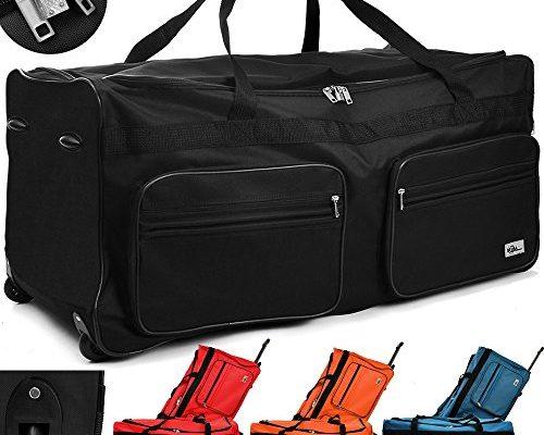 xxl reisetasche mit trolleyfunktion 160 liter in schwarz sporttasche schuhe und taschen. Black Bedroom Furniture Sets. Home Design Ideas
