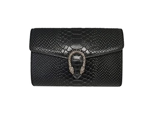 ronda reptil clutch umh ngetasche handtasche mit kette und. Black Bedroom Furniture Sets. Home Design Ideas