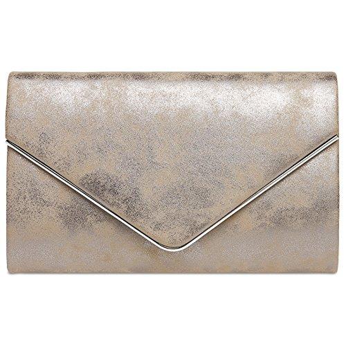 Die Elegante Farbe Taupe: CASPAR TA349 Damen Elegante Envelope Clutch Tasche