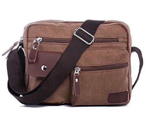 hengwin m nner retro leinwand schultertasche herren tasche handtasche mit vielen f chern f r. Black Bedroom Furniture Sets. Home Design Ideas