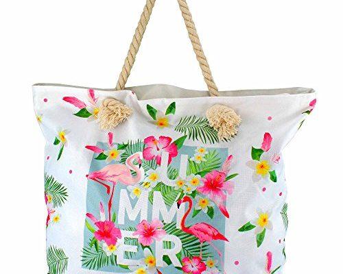 MC-TREND® Große Strandtasche mit Reißverschluss Seile Taue ...