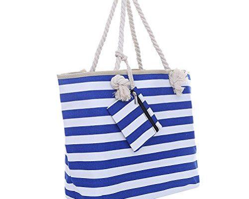Große Strandtasche mit Reißverschluss 58 x 38 x 18 cm ...