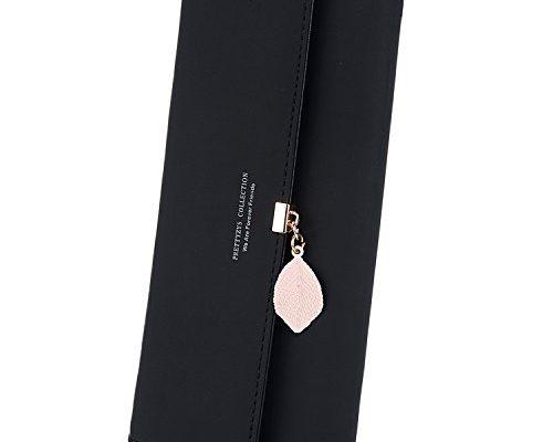 uto damen pu leder lange brieftasche mit blatt anh nger. Black Bedroom Furniture Sets. Home Design Ideas